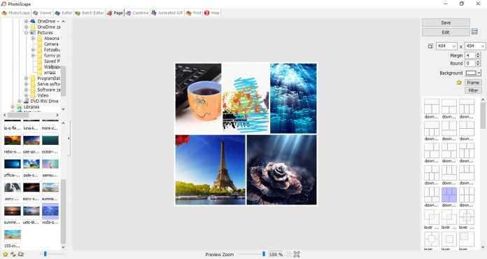 Photoscape sučelje Page stranice