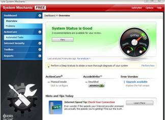 System Mechanic Start zaslon