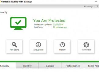Norton internet security 2015 Sučelje glavnog prozora
