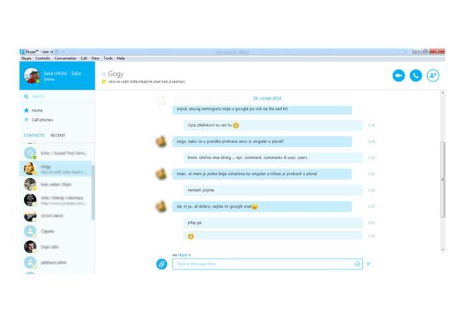 Skype chat u balončićima