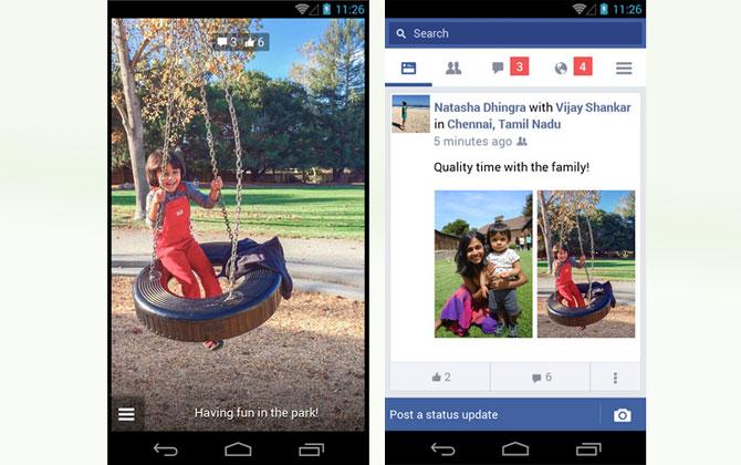 Facebook lite aplikacija sučelje