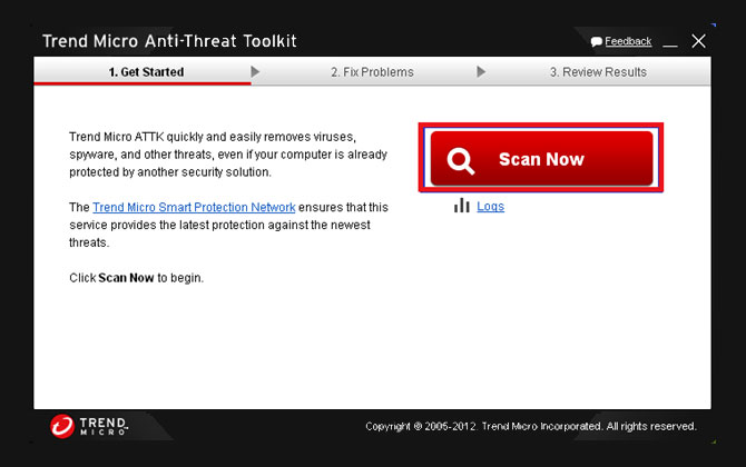 Trend Micro Anti-Threat Toolkit sučelje