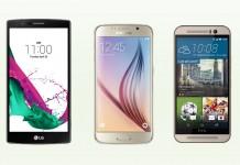 LG G4, Galaxy S6, One M9 prednje strane