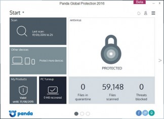 Panda Global Protection 2016 sučelje