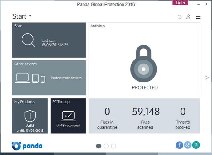 Panda Global Protection 2016 sučelje