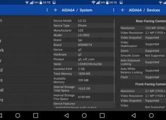 AIDA 64 Android sučelje aplikacije