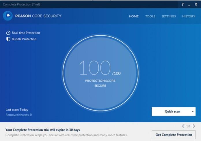 Reason Core Security početni prozor