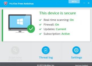McAfee Free Antivirus beta sučelje