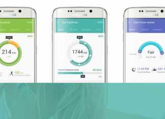Samsung S Health sučelje aplikacije