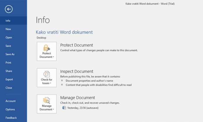 Vraćanje Word dokumenta