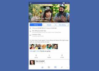 Facebook Windows 10 mobile aplikacija sučelje