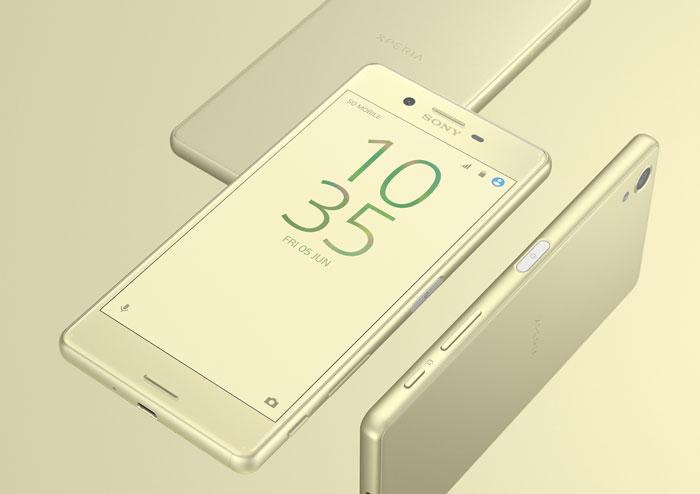 Sony Xperia X zlatna dizajn uređaja