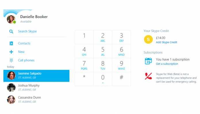 Skype za web biranje broja telefona