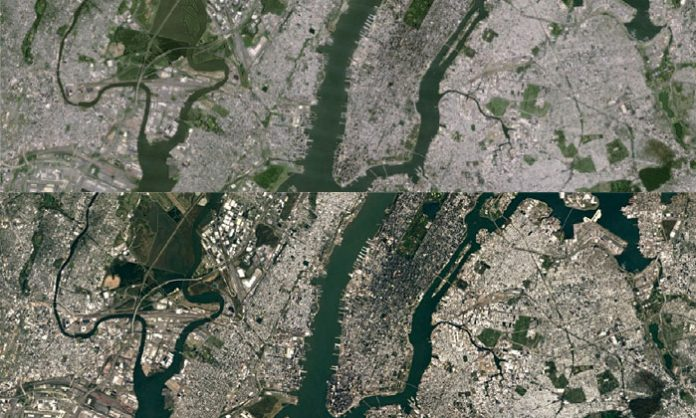 Google Earth satelitski prikaz New Yorka usporedba