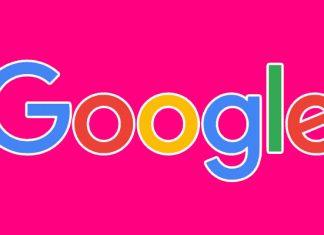 Google logo na fuchsia pozadini