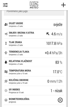 Zaslonski snimak podaci o vremenu