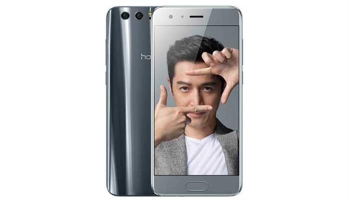 Sivi Honor 9 ekran i stražnja strana pametnog telefona