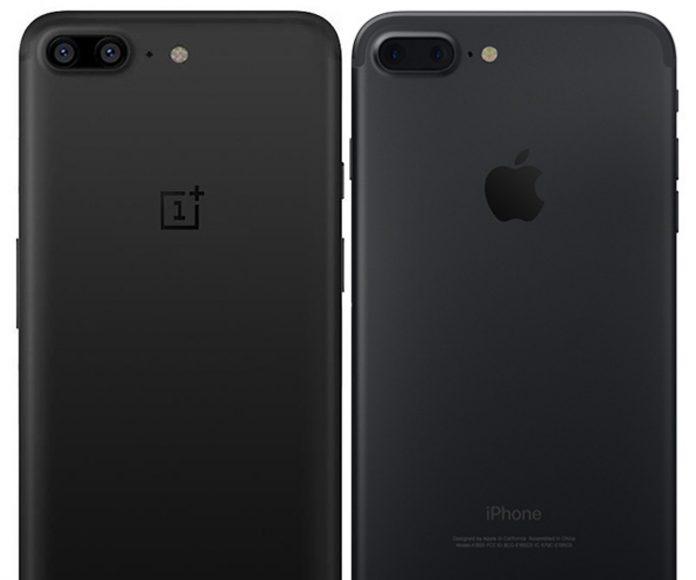 OnePlus 5 i iPhone7 Plus stražnja strana telefona
