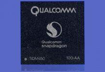 Snapdragon 450 čip na ljubičastoj pozadini