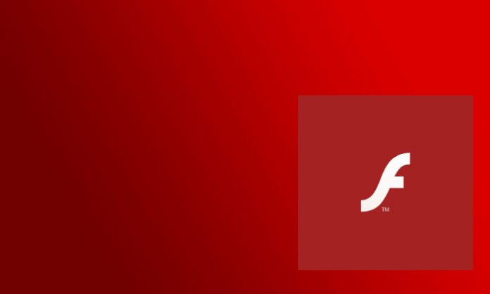 Adobe Flash player logotip na crvenoj pozadini