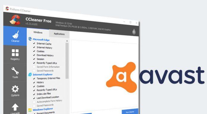 CCleaner sučelje i Avast logotip