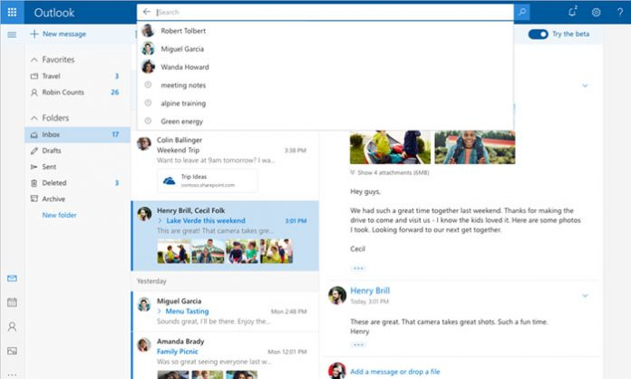 outlook.com beta izgled sučelja