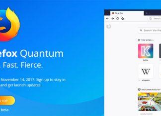 Firefox Quantum beta stranica