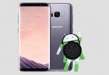 Samsung Galaxy S8 i Android 8 Oreo logotip
