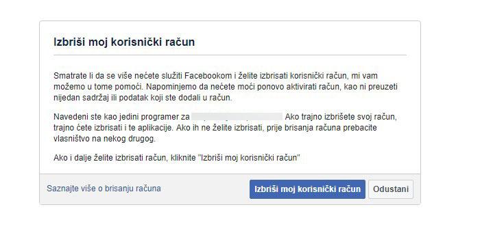 Izbriši moj korisnički račun na Facebooku