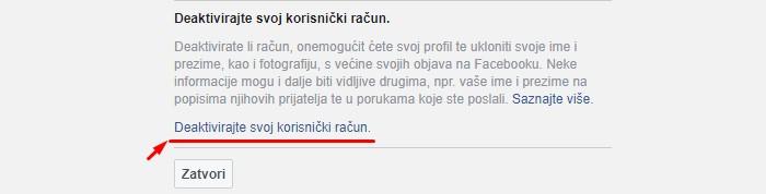 Deaktivacija Facebook računa