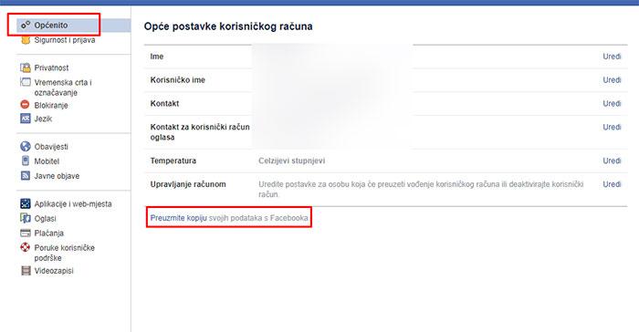 Opće postavke Facebook računa