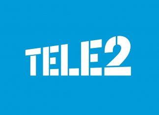 Tele2 logotip na plavoj pozadini