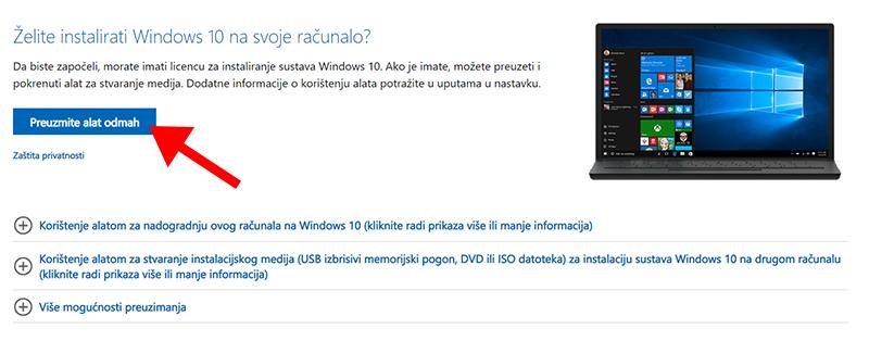 Preuzimanje alata za stvaranje Windows 10 medija